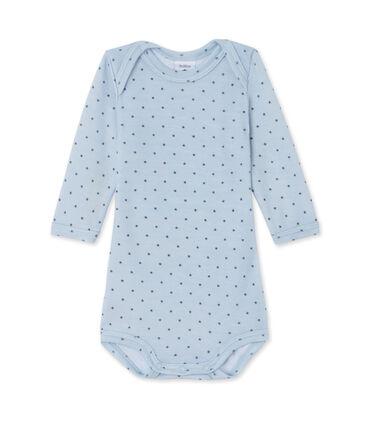 Body bebè bambino maniche lunghe lana e cotone blu Fraicheur / grigio Tempete