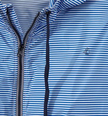Impermeabile anti-vento unisex millerighe blu Perse / bianco Marshmallow
