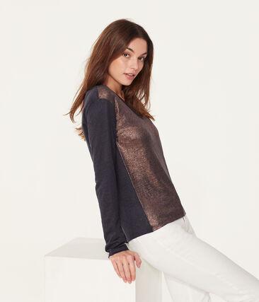 T-shirt maniche lunghe donna in lino cangiante blu Smoking / rosa Copper