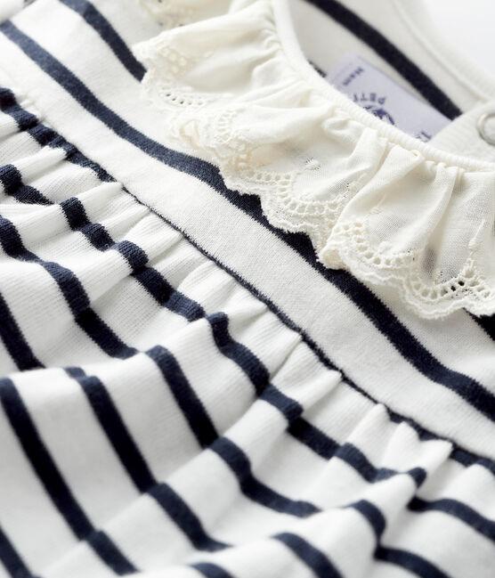 Blusa a manica lunga bebè femmina bianco Marshmallow / blu Smoking