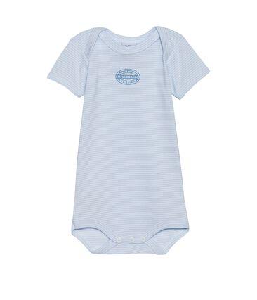 Body bebé bambino maniche corte millerighe blu Fraicheur / bianco Ecume