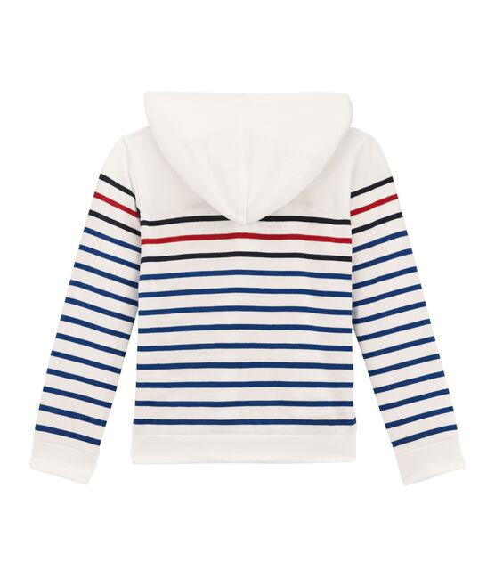 tee-shirtmaniche lunghe con cappuccio bianco Marshmallow / blu Smoking