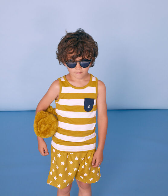 Short da spiaggia bambino giallo Bamboo / bianco Marshmallow