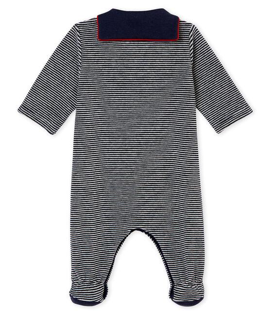Tutina in ciniglia millerighe per bebé maschio blu Smoking / bianco Multico