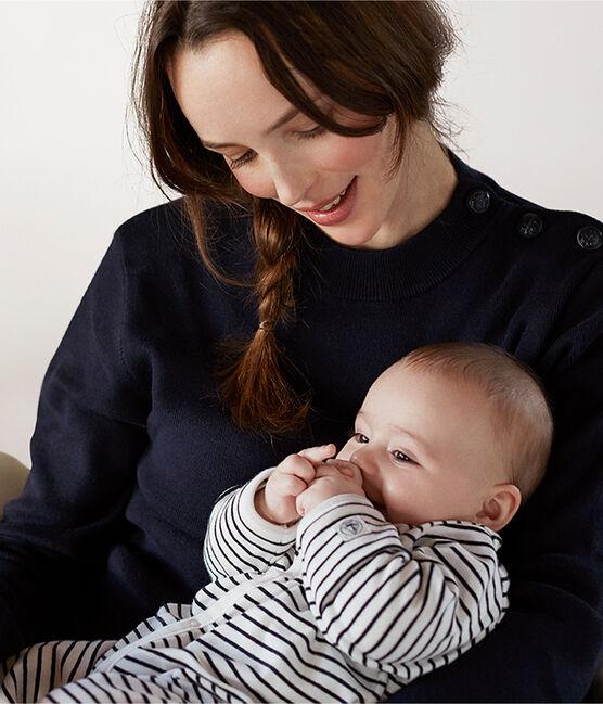 Tutina pigiama bebè in velluto bianco Marshmallow / blu Smoking
