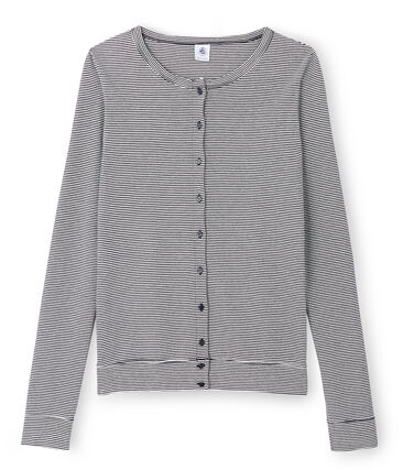 Cardigan iconico donna blu Smoking / bianco Lait