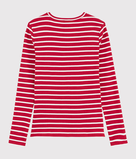 T-shirt iconica scollo a V donna rosso Terkuit / bianco Marshmallow