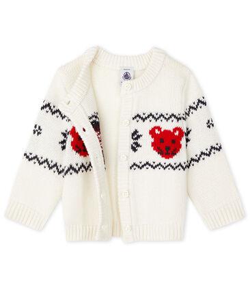 Cardigan bebè unisex bianco Marshmallow / bianco Multico
