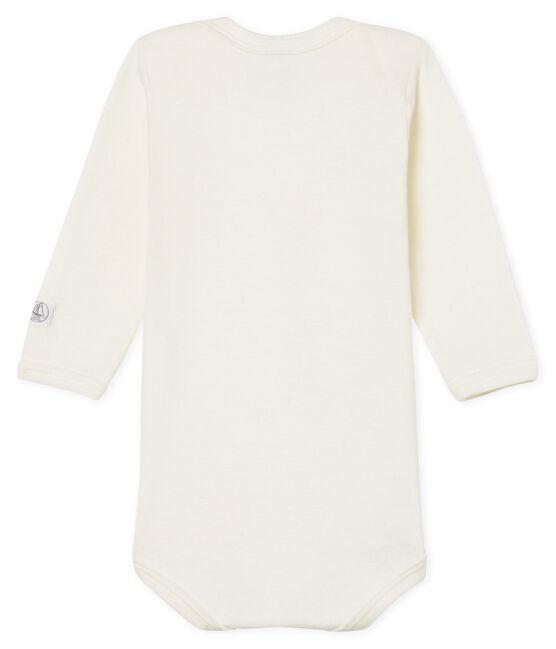 Body maniche lunghe bebè in lana e cotone bianco Marshmallow