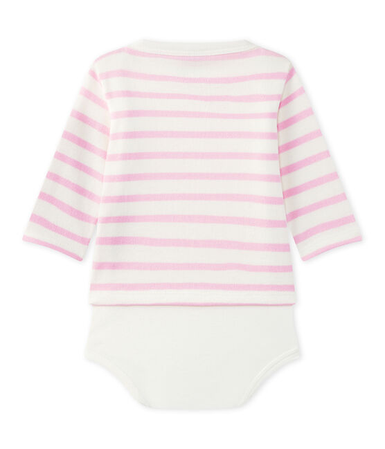 Body marinière per bebè a maniche lunghe bianco Marshmallow / rosa Babylone