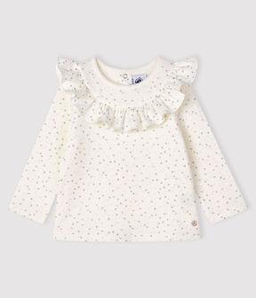 Blusa a manica lunga bebè femmina bianco Marshmallow / grigio Argent