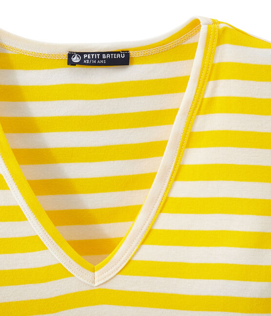 T-shirt donna scollo V in costina originale 1x1 rigata giallo Shine / bianco Marshmallow