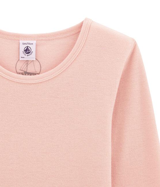 tee-shirta maniche lunghe per bambina in lana e cotone rosa Joli