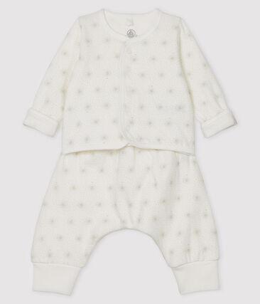Completo 2 pezzi bebè unisex in tubique bianco Marshmallow / beige Perlin