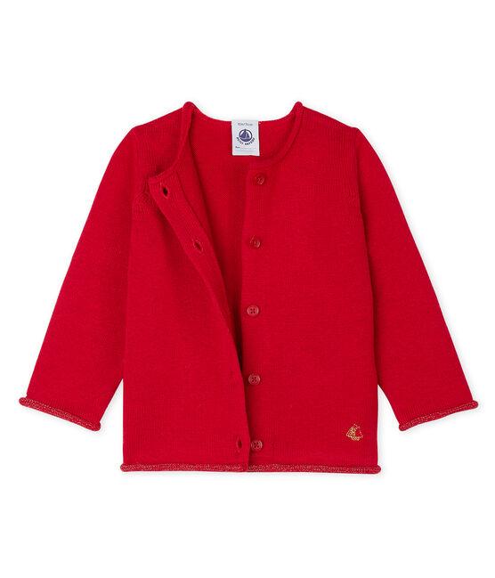 Cardigan essenziale bambina in maglia di lana e cotone rosso Terkuit