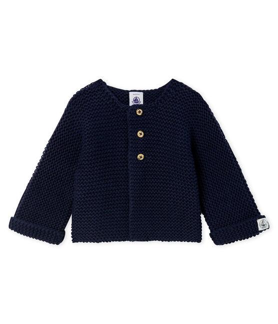 Cardigan in lana e cotone a punto legaccio bebè femmina blu Smoking