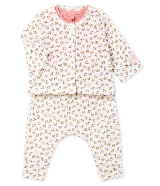 Completo tre pezzi bebè femmina a costine bianco Marshmallow / bianco Multico