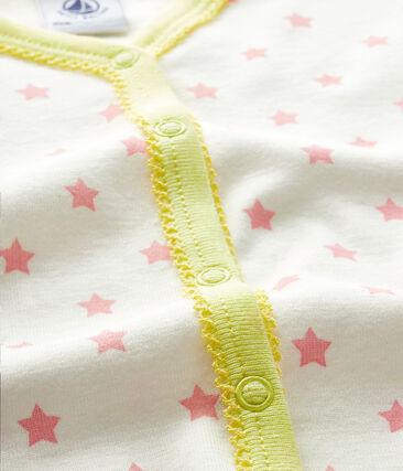 Tutina senza piedi a costine bebè femmina bianco Marshmallow / rosa Gretel