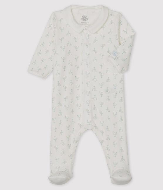 Tutina pigiama bebè maschio a costine bianco Marshmallow / bianco Multico