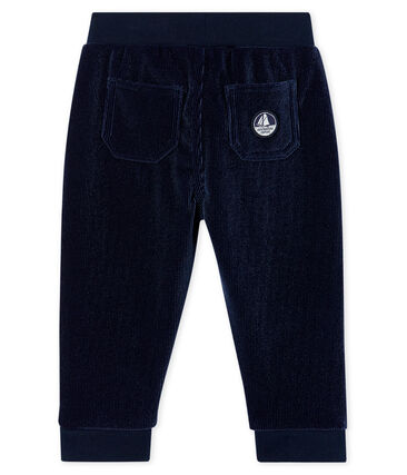 Pantalone bebè maschio in maglia di velluto a costine blu Smoking
