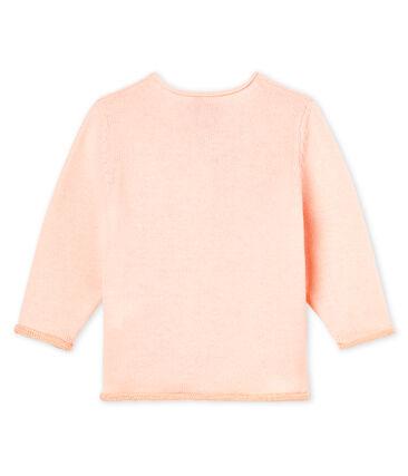 Cardigan essenziale bambina in maglia di lana e cotone rosa Fleur
