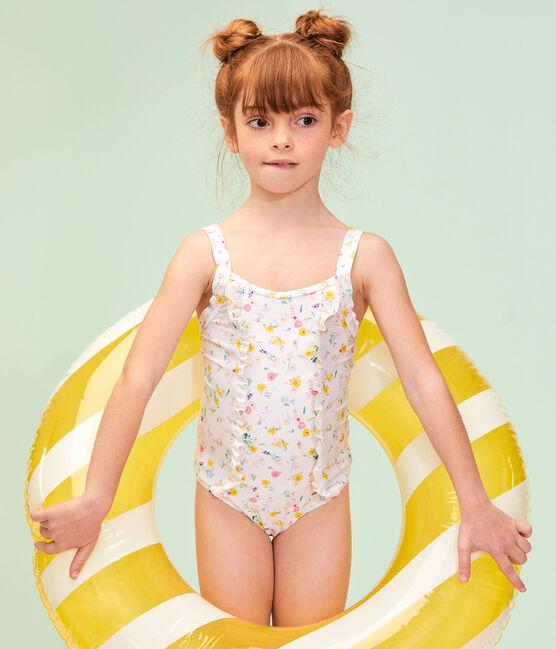 Costume da bagno intero ecoresponsabile bambina bianco Marshmallow / bianco Multico