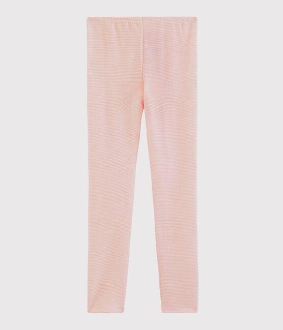 Leggings in lana e cotone millerighe da bambina rosa Charme / bianco Marshmallow