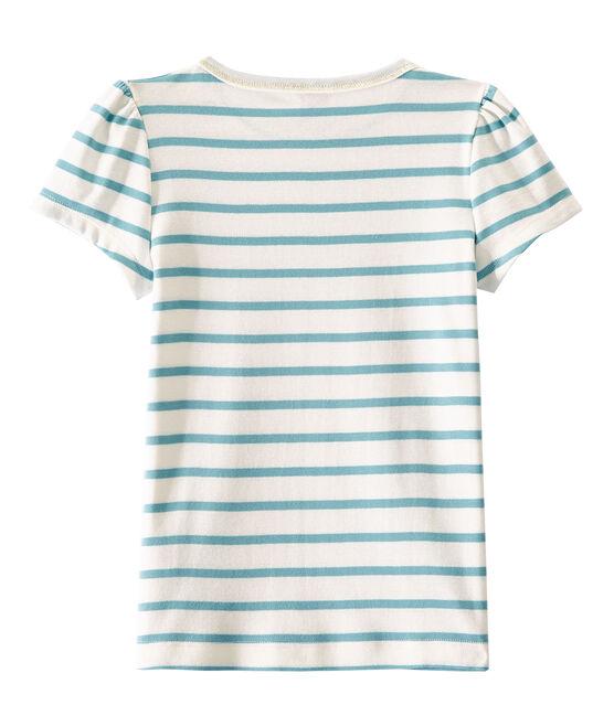 T-shirt bambina a righe marinière bianco Marshmallow / blu Mimi