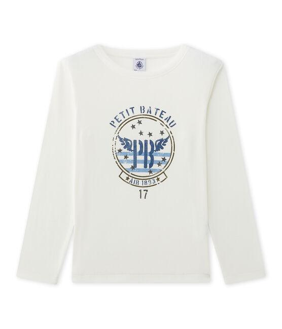 T-shirt a maniche lunghe per bambino con serigrafia beige Coquille