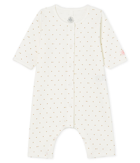 Tutina senza piedi a costine bebè bianco Marshmallow / rosa Gretel