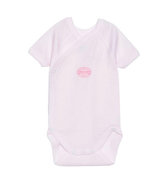 Body nascita bambina maniche corte millerighe rosa Vienne / bianco Ecume