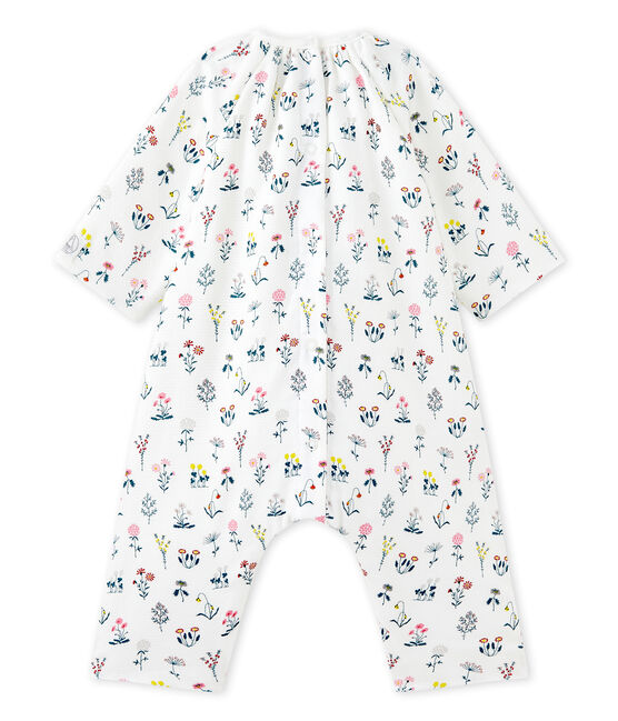 Tutina in tubique stampata per bebé femmina bianco Lait / bianco Multico