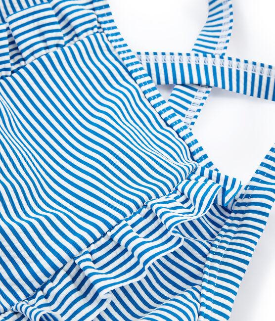 Costume intero bambina blu Riyadh / bianco Marshmallow