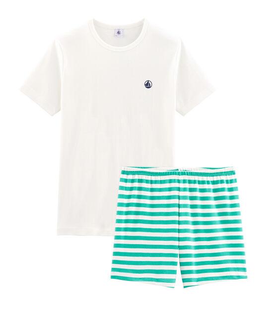 Pigiama corto ragazzo a costine verde Esperanza / bianco Marshmallow