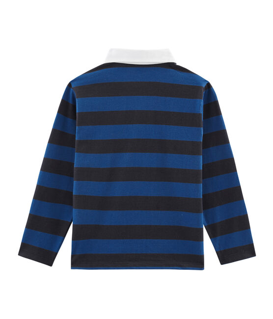 Polo rugby bambino a righe blu Smoking / blu Limoges