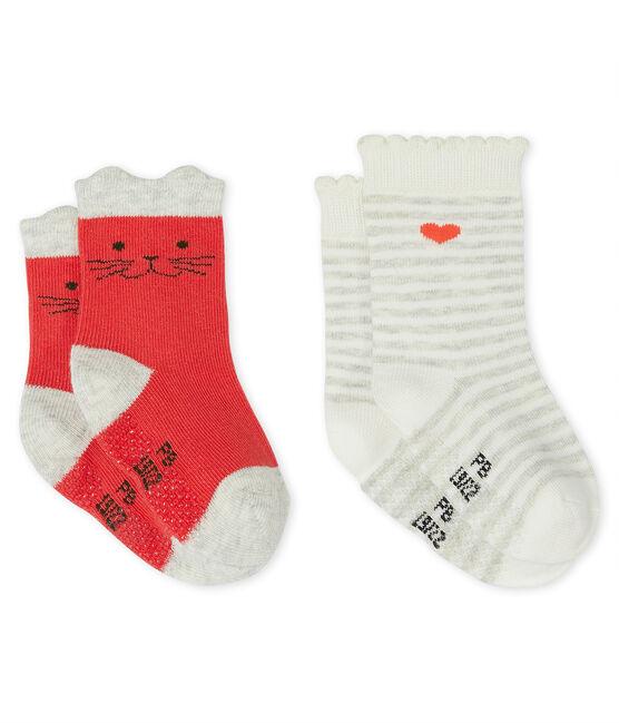 Confezione da 2 paia di calzini bebè femmina rosso Signal