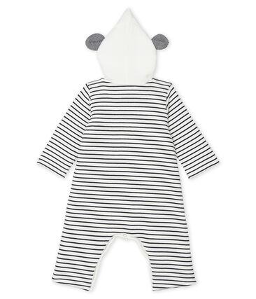 Tutina lunga con cappuccio bebè unisex bianco Marshmallow / blu Smoking