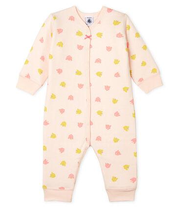 Tutina senza piedi da neonata a costine in ovatta rosa Fleur / bianco Multico