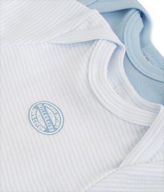 Confezione di 2 bodies bebé bambino maniche corte tinta unita/millerighe lotto .