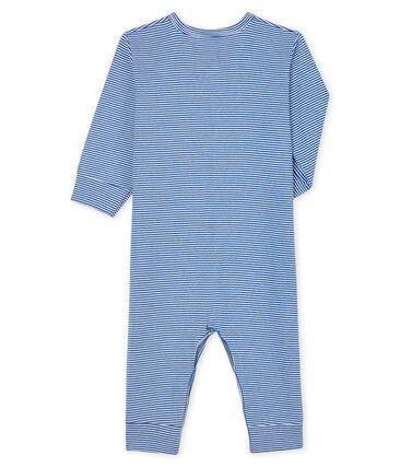 Tutina senza piedi a righe blu bebè in tubique blu Pablito / bianco Marshmallow