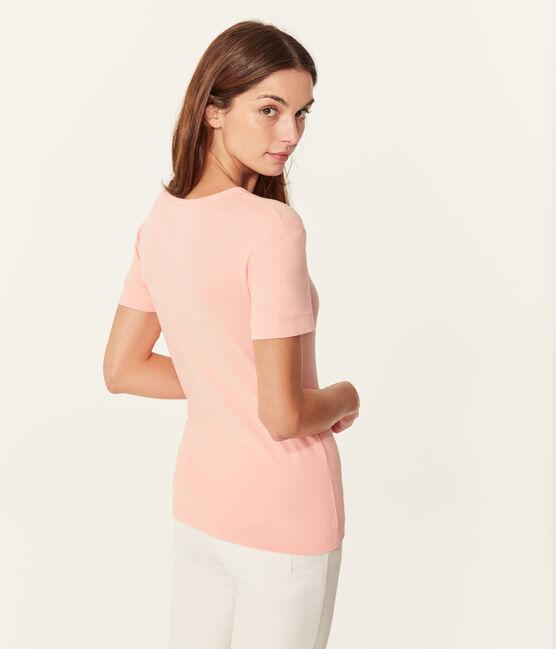 T-shirt maniche corte scollo a V donna rosa Rosako