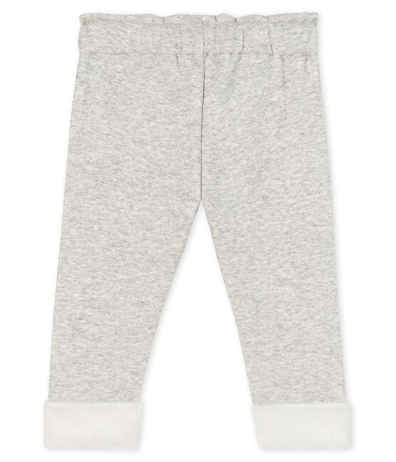 Pantalone bebè femmina in maglia di velluto grigio Beluga