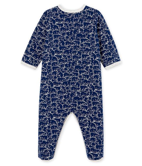 Tutina bebé maschio in molleton blu Major / bianco Marshmallow