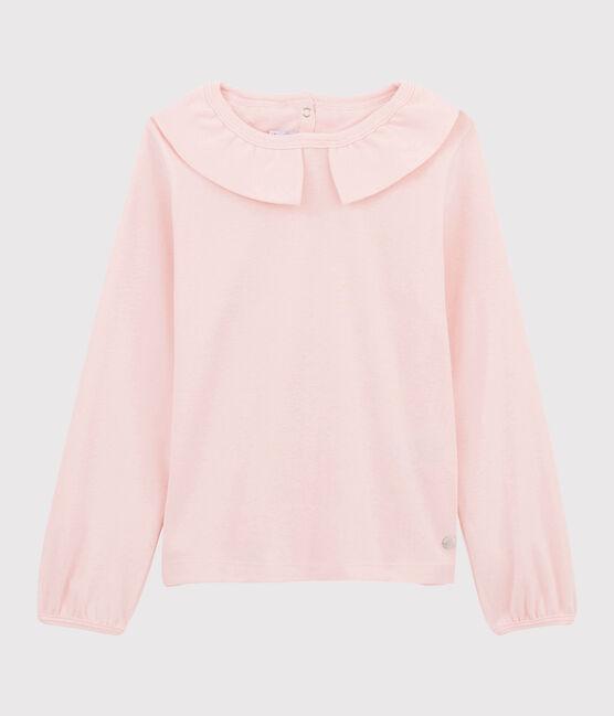 T-shirt con scollo bambina rosa Minois