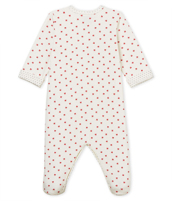 Tutina pigiama bambina in tubique bianco Marshmallow / rosso Terkuit