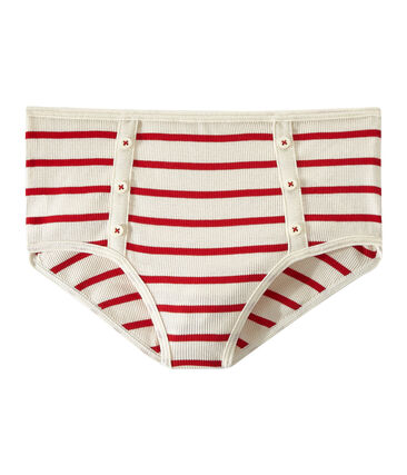 Culotte alta a costine 2x2 beige Coquille / rosso Terkuit