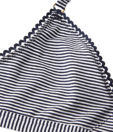 Reggiseno a triangolo donna millerighe blu Abysse / bianco Lait