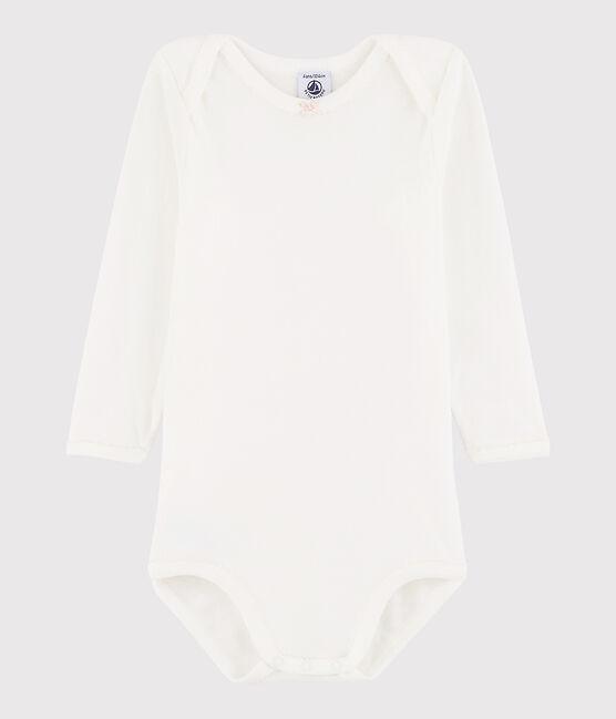 Body manica lunga bebè femmina bianco Marshmallow / rosa Minois