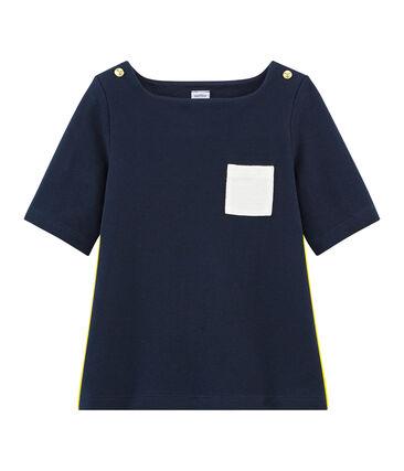T-shirt maniche 3/4 bambina blu Smoking