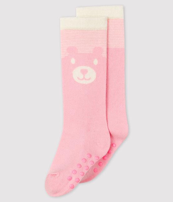 Calzini alti bebè rosa Minois / bianco Marshmallow